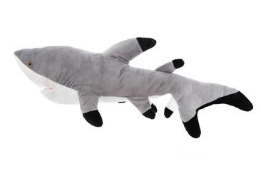 Haifisch isoliert auf weiß: Plüschtier