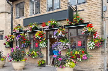 Flower Shop near Wells Cathedral, Wells, Somerset, England