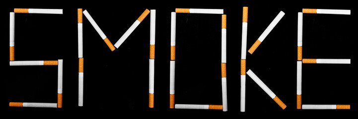 text Smoke made from cigarettes
