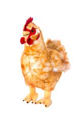 Huhn oder Henne isoliert: Stofftier freigestellt auf Weiß