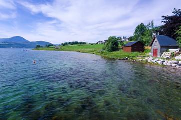 Norwegian fjord coast in July