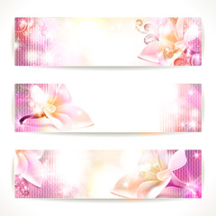Set of floral vector banners.