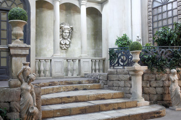 Decorative patio in antique style