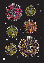 Colorful Fireworks on Night Sky Vector Illustration