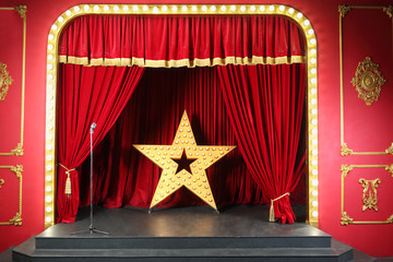 scene in retro style with curtain decoration large shining star