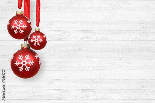 canvas print picture Weihnachtshintergrund / Kugeln / Holz