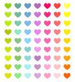 Fototapety Colorful hearts set