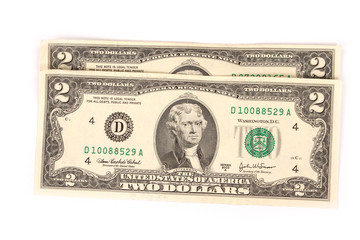 United States two dollar bill on a white background