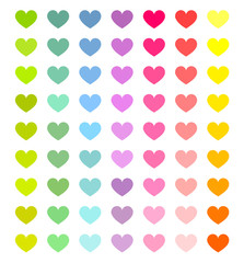 Colorful hearts set