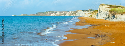 canvas print picture Xi Beach morning panorama (Greece, Kefalonia).