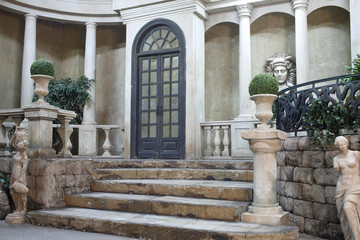 Antique architecture in interior courtyard