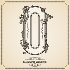 Calligraphic Font. Number 0. Vector Design Background