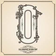 Calligraphic Font. Number 0. Vector Design Background