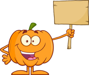 Happy Halloween Pumpkin Cartoon Character Holding A Wooden Board