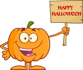 Halloween Pumpkin Character Holding A Wooden Board With Text