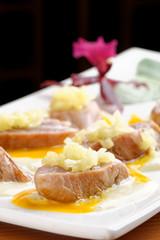Plate of Seared Yellow Fin Tuna with garlic sauce
