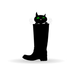 cat in boot vector illustration