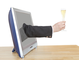 champagne glass in businessman hand leans out TV