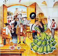 Baile flamenco en el tablao, azulejo