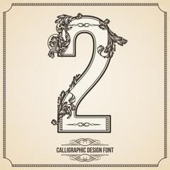 Calligraphic Font. Number 2. Vector Design Background