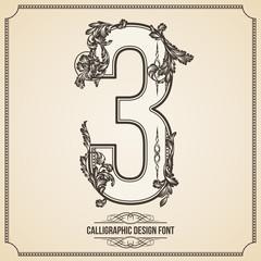 Calligraphic Font. Number 3. Vector Design Background