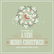 Christmas card with a Christmas wreath and a bird. Vector