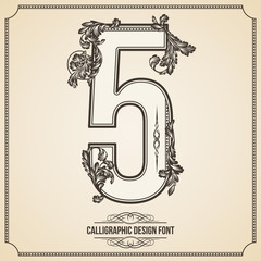 Calligraphic Font. Number 5. Vector Design Background