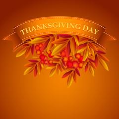 Thanksgiving vector illustration with rowan