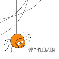 Halloween Spider Background. Vector Illustration