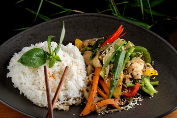 Stir Fry vegetable/Chicken with Rice