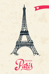 Eiffel tower parisian symbol hand drawn greeting card