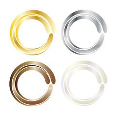 Kreis - drei Farben - Gold - Silber - Bronze - icon