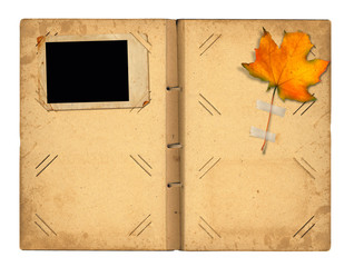 Open vintage photoalbum for photos with autumn foliage on white