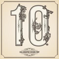 Calligraphic Font. Number 10. Vector Design Background