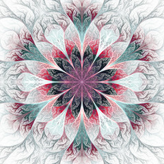 Beautiful fractal flower in gray, pink and blue. Computer genera