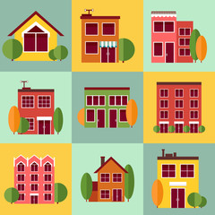 City buildings set in vector flat style