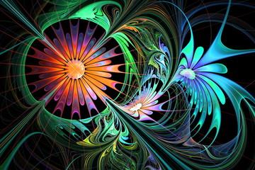 Flower background. Blue and orange palette. Fractal design.