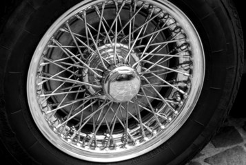 steel circle of a vintage car
