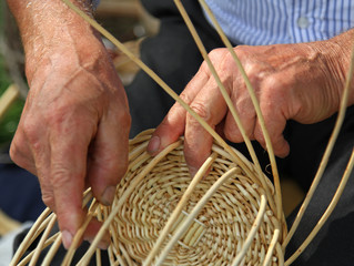hands of skilled craftsman make a wicker basket