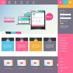 Flat vector website template with computer screen, smartphone