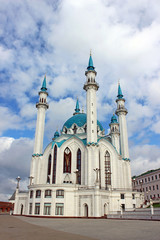 The Kul Sharif mosque in Kazan on a background cloudy sky