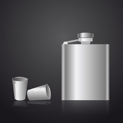alcohol silver hip flask eps10