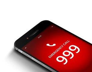 mobile phone with emergency number 999 over white