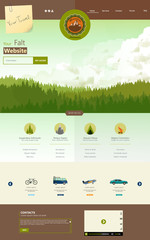 Flat One Page Website Template with pineforest background
