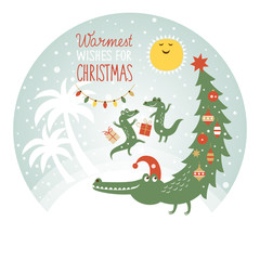 cute african crocodiles with decorated tail