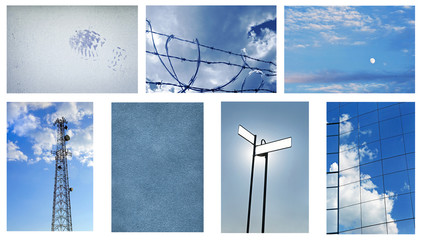 Blue Background Collage