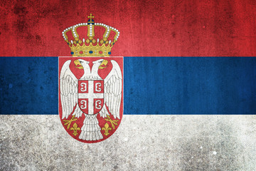 National flag of Serbia. Grungy effect.
