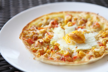 pizza corn and egg