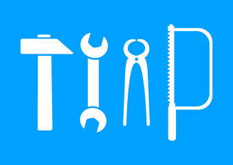 White tool icons on blue background