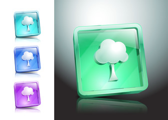 tree glass icons set color symbol nature